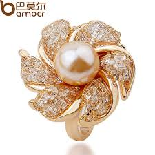 gold pearl rings images Bamoer high quality rose gold color imitation pearl ring for women jpg