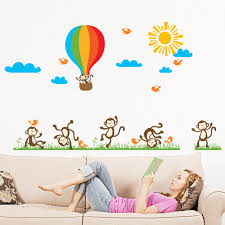 cheeky monkeys playing with hot air balloon large monkey wall sticker cheeky monkeys playing with hot air balloon large