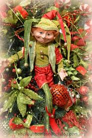 elves decorating tree lights card and decore