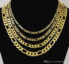 accessories chain necklace images Wholesale classic figaro cuban link chain necklace 24k real gold jpg