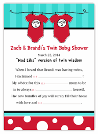 baby mad libs seuss thing 1 thing 2 br baby shower mad libs keepsake
