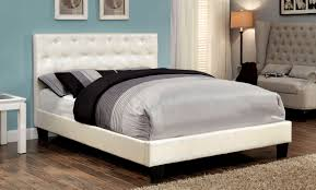 pearl white crocodile skin tufted leatherette upholstered bed