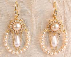 and pearl chandelier bridal earrings pearls chandelier gold wedding
