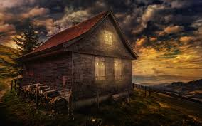 houses mountain cabin night good dom nebo oblaka houses clouds