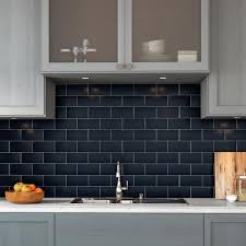 white kitchen cabinets with blue subway tile restore 3 in x 6 in glazed ceramic navy subway tile 12 5 sq ft