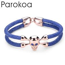 blue leather bracelet images New trendy unisex design genuine stingray leather bracelet men jpg