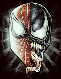 venom spiderman face drawing