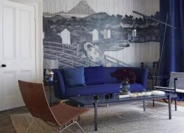 Modern Blue Living Room by Transform Your Living Room With Statement Wallpaper The Room Edit