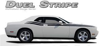 dodge challenger 2013 black challenger dual door stripes strobe vinyl graphic decals