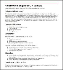 Sample Resume For Maintenance Engineer by Automotive Engineer Cv Sample Myperfectcv