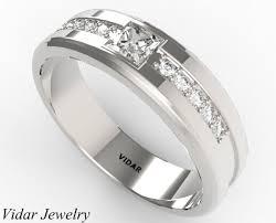 mens princess cut diamonds wedding ring vidar jewelry unique mens wedding band unique princess cut in 14k white