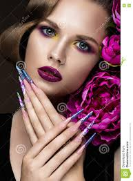 beautiful with colorful make up flowers retro hairstyle and