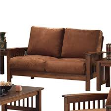 sofa couch loveseat furniture chair chairs mission style oak rust