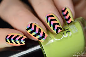 simply nailogical bleached neon stripes and directional chevrons