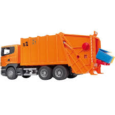 garbage trucks for kids surprise bruder 3560 scania r series garbage truck orange amazon co uk