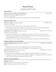 Extracurricular Activities For Resume Harry Potter U0027s Resume Example Of Nice Formatting Resumes