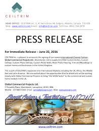 press release ceiltrim
