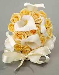 Calla Lily Bouquets Gold Rose And White Calla Lily Bouquet Silk Flowers 4 Ever