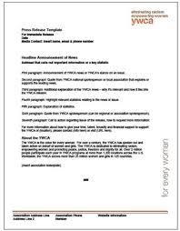 press release template ywca brand center