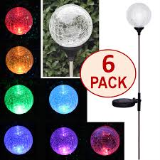 crackle glass globe solar stake lights set of six 6