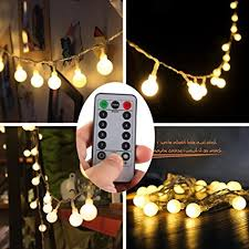 battery operated lights with timer amazon com echosari remote timer 16 feet 50 led outdoor globe