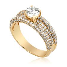 solitaire rings gold images Diamond ring with embellished band in 14k yellow gold jpg