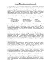 Extensive Resume Sample by Summary Statement Resume Examples Berathen Com