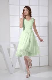 light green dress with sleeves light green prom dress plain a line v neck sleeveless knee length