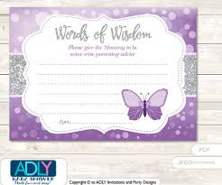 gray purple butterfly words of wisdom advice card for baby shower