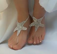 starfish barefoot sandals bright rhinestone anklet country wedding starfish sea