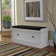 white storage bench with cushion treenovation