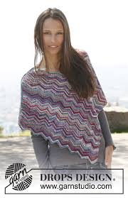 drops design poncho knitted drops poncho with zigzag pattern in fabel size s