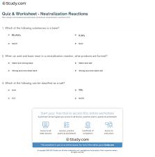 quiz u0026 worksheet neutralization reactions study com