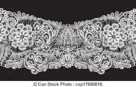 seamless stripe floral lace ornament white on black vector