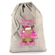 personalised pink reindeer hessian