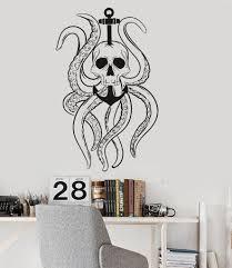 vinyl wall decal octopus tentacles skull anchor nautical ocean vinyl wall decal octopus tentacles skull anchor nautical ocean stickers ig3584
