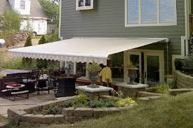 Cool Shade Awnings Retractable Manor Multiple Awnings With Solid Blue Fabric