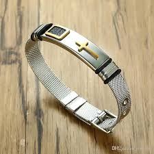 cuff bracelet watches images Adjustable length mens cross bracelets for women stainless steel jpg