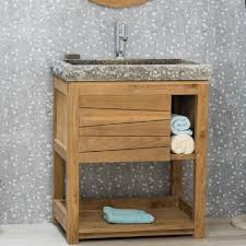 meuble en teck massif cosy 67cm vasque gris achat vente