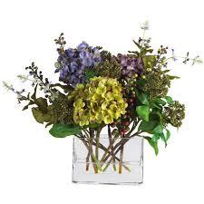 Silk Flower Depot - nearly natural 12 in mixed hydrangea silk flower arrangement with