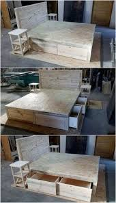 Diy Pallet Bed With Storage by Repurposed Pallets Bed Frame With Storage Option Wood Pallet