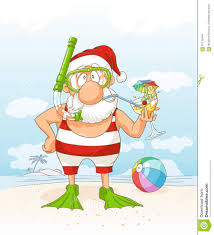 holiday cocktails clipart santa claus on summer holiday vector cartoon stock vector image