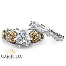 flower rings images Floral moissanite engagement ring set 14k two tone gold flower jpg