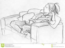 Couch Drawing Pencil Sketch Of Woman On Sofa Stock Illustration Image 62994613