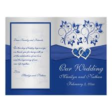 royal blue wedding invitations royal blue and silver floral heart wedding invitations