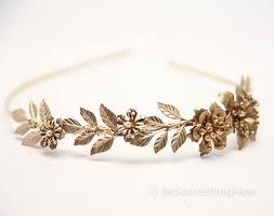 gold headband leaf headband grecian brassy gold metal leaf and flower