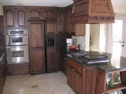 Dark Kitchen Cabinets With Backsplash Brown Cherry Wood Cabinets White Stained Wooden Island Black
