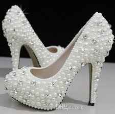 wedding shoes cork fashion luxurious pearls crystals wedding shoes custom made size 11