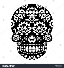 cute tile background halloween mexican sugar skull halloween skull flowers stock vector 665604658