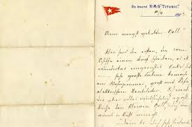 first written letter on the titanic before ship set sail goes up
